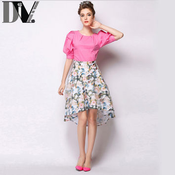 DIV Women Summer White And Black Skirt  European And American Style Print Floral Zipper Knee-Length A-Line Skirts Size S-XL
