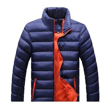 Mens Bomber Puffer Jacket in Navy Blue