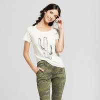 Women's Cactus Short Sleeve Scoop Neck Graphic T-Shirt - Grayson Threads (Juniors') White