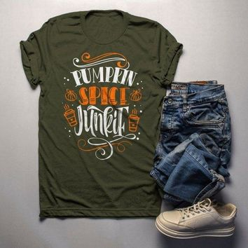 Men's Pumpkin Spice T Shirt Pumpkin Spice Junkie Tee Fall Shirts Seasonal TShirt Funny