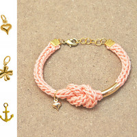 Coral bracelet with infinity knot with charm, knit bracelet, infinity bracelet, heart charm bracelet