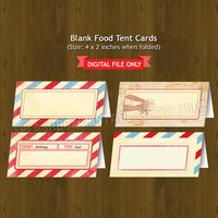 Vintage Travel Printable Food Labels - Aviator plane post card Party Place Cards or Food Tents (Tent Cards) - EDITABLE INSTANT DOWNLOAD