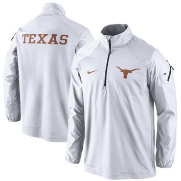 Texas Longhorns Nike Coaches Sideline Half Zip Performance Jacket - White