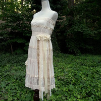 Boho Dress - Tattered Prairie Sundress  - Shabby Chic  - Rustic Country Wedding Dress - Strapless Original One of a Kind Design
