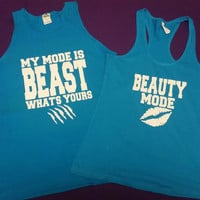 Beauty and the Beast Couples Work Out Tanks or Tshirts.Beast and Beauty Mode. Couples shirts. Couples Fitness tanks