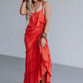 Feel The Ruche Maxi Dress - Crimson