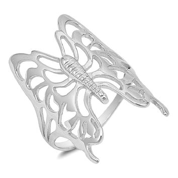 925 Sterling Silver Butterfly Filigree Ring 29MM