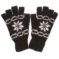 Black Snowflake Fingerless Gloves - Gloves   - Accessories  - Topshop USA