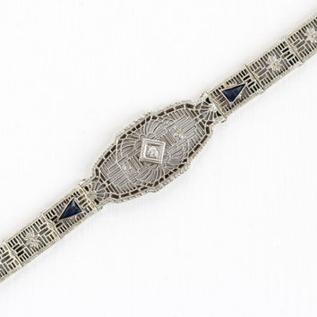 Antique 14k White Gold Diamond & Simulated Sapphire Filigree Panel Bracelet - Vintage 1920s Art Deco Flower Motif Blue Stone Fine Jewelry
