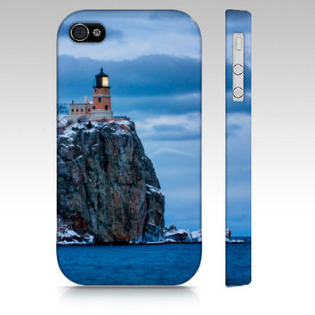 iPhone Case, iPhone 4/4S, iPhone 5, Samsung Galaxy S3, Splitrock Lighthouse, Lake Superior, Photography, Winter, Blue Sky Water, Christmas
