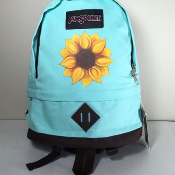 JanSport Canvas Backpack in Aqua with Hand Painted Sunflower