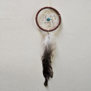 Dream Catcher for Car Mirror- Brown, White, Turquoise, Single Feather