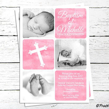 Baptism Photo Invitation // Personalized Printable Pink Baby Girl Baptism Photo Invitation // Baptism invite // Christening Invite