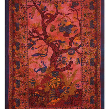 Tree Of Life Indian Tapestry Picnic Blanket Hippie Bohemian Wall Decor Twin Size Table Runner Indie Tapestries TP613J