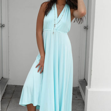 Head In The Clouds Baby Blue Maxi Dress