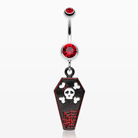 Skull & Crossbones Coffin Belly Ring