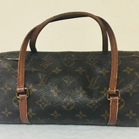 Vintage Authentic Louis Vuitton Brown Monogram Papillon 26 Hand Bag, 1990's Antique Alchemy