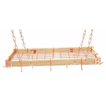 Rogar KD Rectangular Hanging Pot Racks with Grid In Light Wood and Copper