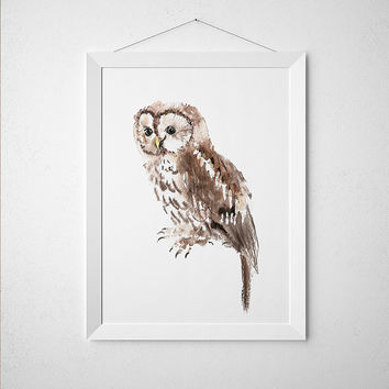 Tawny owl poster Nursery watercolor Cute bird art print ACW158