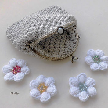 Crochet Coin Purse Change Purse Money Pouch Flower Kiss Clasp Framed Antique Gold Niatta