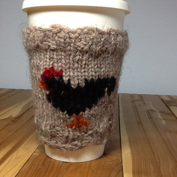 Knitted Coffee Cup cozy, medium brown wool blend yarn with black rooster,  fits 16 oz. travel cup, washable cup sleeve, gifts under 15