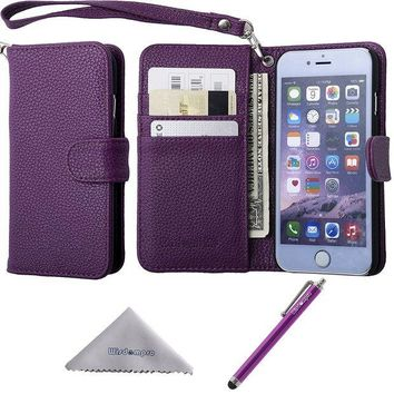 ONETOW iPhone 6s /6 Case, Wisdompro Premium PU Leather 2-in-1 Protective [Folio Flip Wallet] Case with Credit Card Holder/Slots and Wrist Lanyard for Apple 4.7-inch iPhone 6s /6 (Purple)