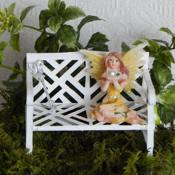 Fairy Garden Bench with fairy and butterfly wand miniature