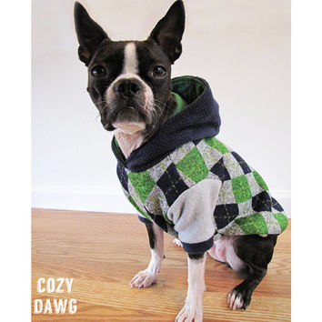 Argyle Dog Sweater | Blue & Green Argyle Dog Hoodie | Boston Terrier/French Bulldog/Pug