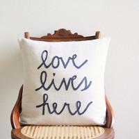 "love lives here decorative pillow cover  / 18"" x 18""  / natural / urban farmhouse industrial / inspirational quote / typography"