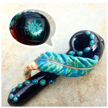 Native Medicine: Floating Turquoise Feather Glass Pipe with Glitter Sparkle Image