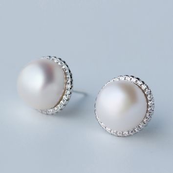 Natural freshwater pearls 925 Sterling Silver earrings, a perfect gift