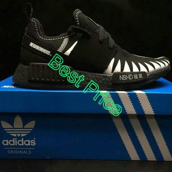 2018 New Arrival Unisex NBHD x Adidas Originals NMD R1 Black White Authentic shoe