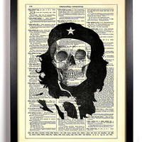 Che Guevara Skull 8 x 10 Repurposed Book Upcycled Dictionary Art Vintage Book Print Recycled Vintage Dictionary Page Buy 2 Get 1 FREE