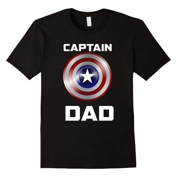 Mens Captain Dad Super Hero Inspired Fathers Day Shirt