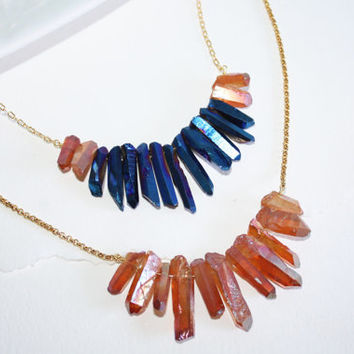 Natural Rough Peacock Blue and Peach Titanium Quartz Spikes Gold Plated Chain Necklace Kaya Jewelry