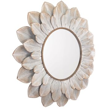 Distressed Brown Flora Wall Mirror