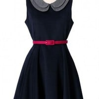 Double Peter Pan Collar Sleeveless Navy Dress  - New Arrivals - Retro, Indie and Unique Fashion