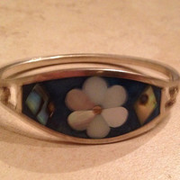 Vintage Alpaca Silver Bracelet Blue Mother of Pearl Flower Mexican Boho Jewelry