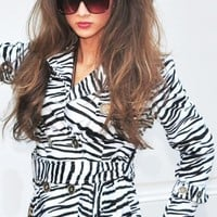 Belted Zebra Print Trench Coat - Diva Hot Couture
