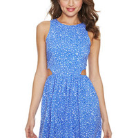 Heart Print Side Cutout Skater Dress - Blue Multi