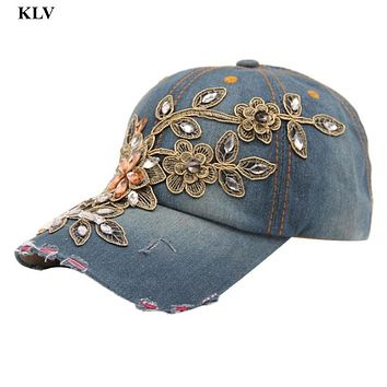 Newly Stylish Fashion Vogue Women Diamond Flower Casual Baseball Cap Preppy Style Lady Jeans Hats Adjustable Snapback Hat No11