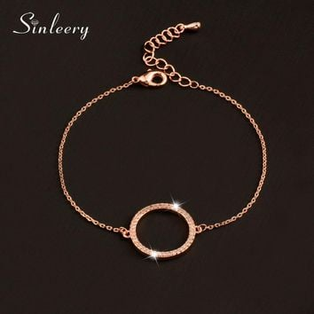 SINLEERY Fashion Paved Tiny Crystal Circle Round Bracelets For Women Silver /Rose Gold Color Link Chain Bracelet SL082 SSB