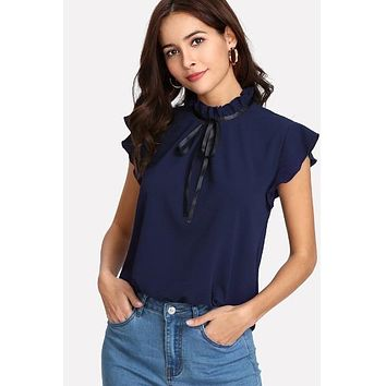Bow Tied Frilled Neck Button Back Navy Blouse