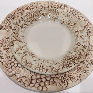 Euro Ceramica Vineyard Grapevine Stoneware Embossed 1 Dinner 1 Salad Plate Set