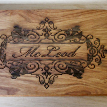 Wedding gift for the couple Cutting Board Engraved Board Containing Couples Initials and Anniversary Date Kitchen Decor