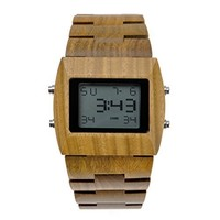 MEKU Men Watch Made From 100% Natural Sandalwood With Led Display Cool Fashion Green