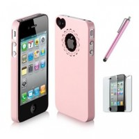 SODIAL(R) Dexule Baby Pink Cute Girls Ultra-thin Ice Cream Glossy Hard Case Cover for iPhone 4 4S + Screen Protector + Pink Cute Stylus