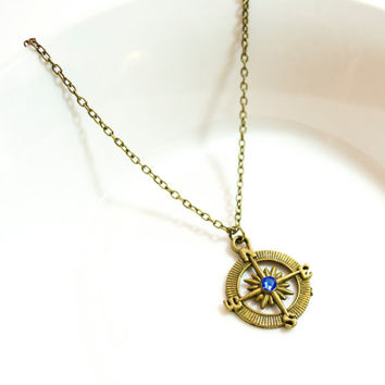 Antique Bronze Compass Necklace with Blue Swarovski Crystal