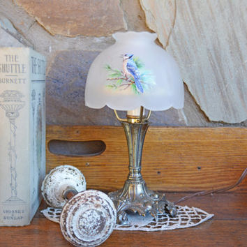 Vintage Westmoreland Fairy Lamp - Small Fairy Light  - Vintage Lighting Metal Lamp with Glass Globe
