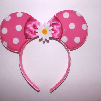 MINNIE MOUSE EARS headband pink with white polka dots and daisy flower mickey